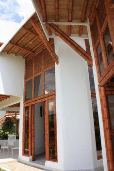 Detalles de contrucción con guadua y otros elementos naturales en Chinauta, cundinamarca. Bahay Kubo, Facade Architecture, Pergola, Outdoor Structures, Bungalows, Home Decor, Plates, Ideas, Beach Houses