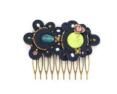 Blue hair comb soutache headpiece blue hairpiece Soutache by pUkke