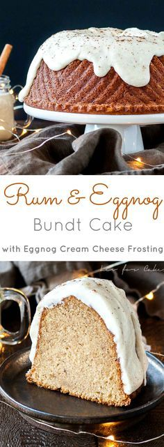 Your favourite holiday beverages in one delicious cake! The perfect mix of nice and naughty in this festive Rum & Eggnog Bundt. | http://livforcake.com