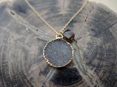 Druzy Necklace(Jasper Quartz Druzy & Red Tiger's Eye With 14K Gold Filled Chain Necklace) Druzy Stone Necklace Druzy Jewelry