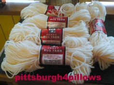 5 - Aunt Lydia's - Rug Yarn - 558 -  Original Cream - 70 Yards - 100% Polyester -1.60 Ozs. - Read Below - Price Is For All by pittsburgh4pillows on Etsy
