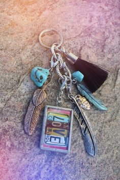 For your Gypsy Valentine - Jewelry LOVE, feathers & turquiose Pendant Keychain with Charms Silk by bohocircus