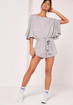 Got back to basics with this grey jersey playsuit with batwing design. Back  To Basics 417869e97