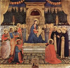 L: San Marco Museum (and chapel), Florence A: Fra Angelico D: 1438-43 S: 220cm x 227cm, enthroned virgin and child aka religious, International gothic P: Cosimo de Medici M: Tempera on wood T: Madonna and Saints/ San Marco Altarpiece