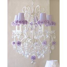 5-Light Antique White Chandelier with Lavender Rose Shades-Chandeliers-A Vintage Room-Jack and Jill Boutique