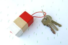 wooden keychain ginger handpainted key by kimslittlemonsters