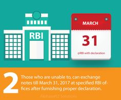 Those who are unable to, can exchange notes till March 31, 2017 at specified RBI offices after furnishing proper declaration.