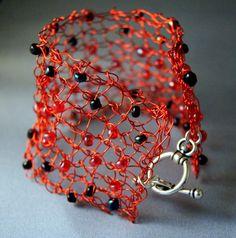 Knit wire beaded cuff bracelet. BooJayKnits on artfire.com