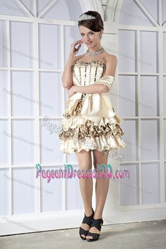 Champagne Miss Mississippi Pageant Dress with Leopard Print Decoration