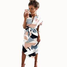 0e33e54912 2018 Summer Dresses A-Line Geometric Short Sashes V Neck Dress Women s  Retro Dresses With