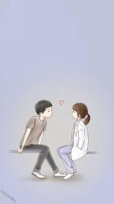 descendants of the sun wallpaper Cute Couple Drawings, Cute Couple Cartoon, Cute Couple Art, Cute Love Cartoons, Anime Love Couple, Cute Anime Couples, Cute Drawings, Cute Couple Wallpaper, Love Wallpaper