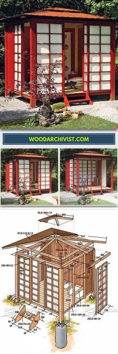 Japanese Tea House Plans - Outdoor Plans and Projects - Woodwork, Woodworking, Woodworking Plans, Woodworking Projects Backyard Retreat, Backyard Landscaping, Backyard House, Gazebo Decorations, Japanese Tea House, Japanese Style, Japan Garden, Shed Homes, Backyard Projects