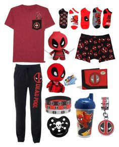 """Not-So-Discrete Deapool Little (cgl, cglre)"" by transboyfanboy ❤ liked on Polyvore featuring JEM, Marvel, Funko and Rock Star Baby    *repost*"