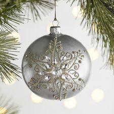 European Glass Beaded Snowflake Ornament