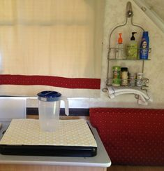 Shower caddy to hold small items like soap, sunscreen, spices, etc. (2007 Chalet Arrowhead A-Frame Camper)