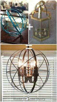 DIY Orb Chandelier. The crystal prism added to the bottom brings out a little bling. Love this creative and chic version. Brighten up your space with this chic orb chandelier.