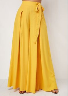 Full A-line Suede Skirt in Yellow Hot Pants, Loose Pants, Wide Leg Pants, Ankle Pants, Harem Pants, Fashion Pants, Fashion Dresses, Casual Gowns, Salwar Designs
