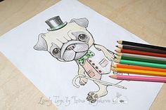 Year Of The Dog Adult Coloring Page Kids Book Puppy Pug Pages Illustration Animals Art Therapy