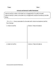 Conflict Worksheets | What Type of Conflict Worksheet
