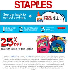 Pinned July 19th: 25% off school supplies with your backpack at #Staples or online via promo code 65639 #TheCouponsApp