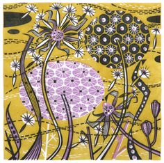 Angie Levin: Spey Seedheads  Linocut