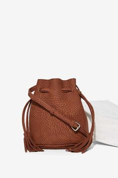 Luck of the Drawstring Textured Bucket Bag - Bags + Backpacks