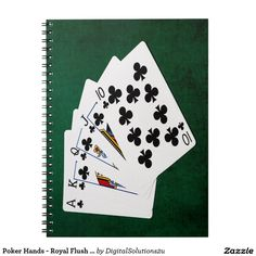 Poker Hands - Royal Flush - Clubs Suit Spiral Notebook