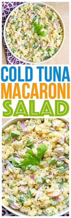 This cold tuna macaroni salad is the perfect potluck side dish and it's one of our family favorite easy holiday recipes - entertaining food via (Cold Tuna Recipes) Tuna Recipes, Potluck Recipes, Chicken Salad Recipes, Healthy Salad Recipes, Side Dish Recipes, Seafood Recipes, Pasta Recipes, Cooking Recipes, Macaroni Recipes