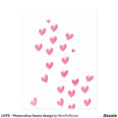 LOVE - Watercolour hearts design