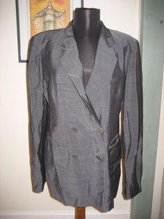 Vintage 1990s Donna Karan Black Label Gray Pantsuit Career Jacket Made in USA 12 #DonnaKaran #Blazer