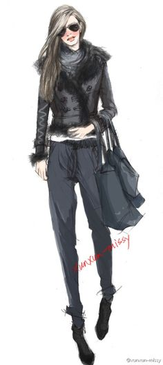[Control jewelry the] xunxun-missy hand-drawn fashion illustration
