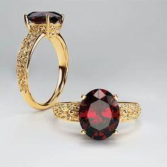 14K Yellow Gold 10x8mm Oval Garnet Filigree Ring - Stuller 71618