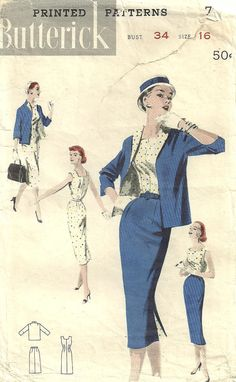 Vintage Fifties Sewing Pattern from Butterick by studioGpatterns, $10.50