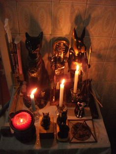 Bastet,Thoth and Anubis Pagan Altar, Wiccan, Magick, Witchcraft, Egyptian Goddess, Egyptian Art, Ancient Book, Modern Magic, Eclectic Witch