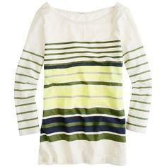 Ribbon-stripe boatneck tee ($35) ❤ liked on Polyvore