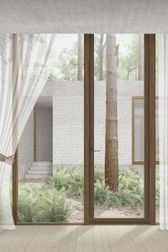 Baeten Hylebos Architecten - illustration - render - living in the woods - waasmunster - brick - wood - nature - house - concrete Timber Architecture, Architecture Collage, Architecture Graphics, Architecture Visualization, Architecture Student, Architecture Drawings, Residential Architecture, Architecture Design, Drawing Interior