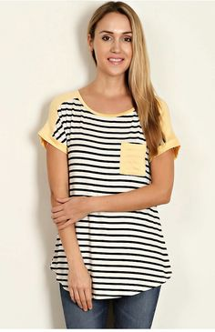 Mulberry Drive — Striped Yellow Cap Top