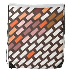 Brick Pattern Drawstring Backpack