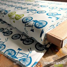 Organic bicycle fabric for baby quilt. (I'm looking at baby bicycle things to keep Dave interested)