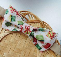 """Купить Галстук бабочка """"Подарки"""" Хлопок - галстук бабочка, новогодняя расцветка, ткань с подарками"""