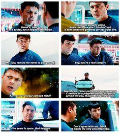 Bones always has the best lines in Star Trek into Darkness.