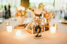 Table numbers on jars or other glassware?