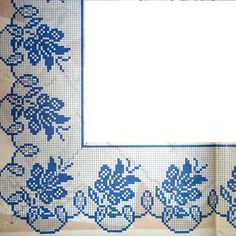 Edging in Filet crochet……. Cross Stitch Rose, Cross Stitch Borders, Cross Stitch Flowers, Cross Stitch Designs, Cross Stitching, Cross Stitch Embroidery, Hand Embroidery, Cross Stitch Patterns, Filet Crochet Charts
