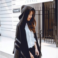 Women's Wool Hooded Poncho with Hat Winter Scarves