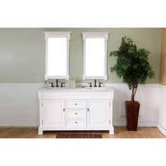 Bellaterra Home 205060-D-WH Universal White/White Marble  Double Basin Bathroom Vanities |eFaucets.com