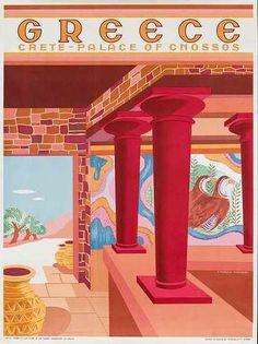 A SLICE IN TIME Greece Isle of Crete Place of Cnossos Greek Vintage Travel Advertisement Art Collectible Wall Decor Poster Print. Measures 10 x inches Vintage Travel Posters, Vintage Ads, Old Posters, Retro, Tourism Poster, Mont Saint Michel, Greek Art, Greece Travel, Landscape Art