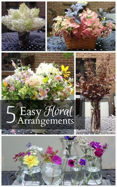 Get inspired by five beautiful summer flower arrangements that you can easily put together with readily available items in your own home. Summer Flower Arrangements, Flower Centerpieces, Summer Flowers, Diy Flowers, Flower Pots, Floral Arrangements, Beautiful Flowers, Flower Baskets, Potted Flowers