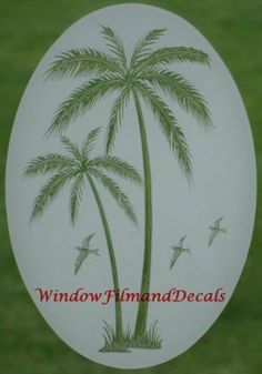 """Leaning Palm Trees Etched Window Decal Vinyl Glass Cling - 21"""" x 33"""" by VEI. $23.95. Removable and reusable. Non-adhesive static cling vinyl decal. Can apply to mirrors, sliding glass doors, patio doors, windows, entrance doors, shower doors, RV windows, boat glass, etc.. Easy to apply to any smooth glass or plastic surface. The look of reach etched glass at a fraction of the cost. Turn an unwanted view or plain glass into an elegant focal point that enhances the decor of your ho..."""
