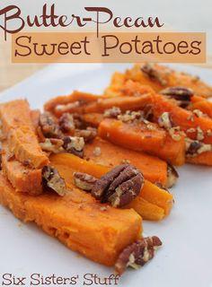If you love sweet potatoes... you will LOVE these Butter Pecan Sweet Potatoes from Sixsistersstuff.com #sidedish #sweetpotato