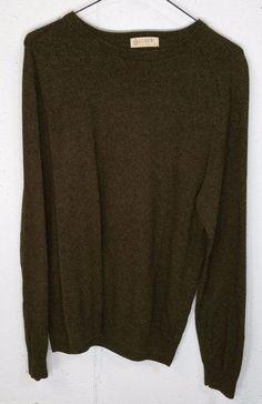 J Crew Mens 92% Cotton 8% Cashmere Olive Green Long Sleeve Crew Neck Sweater M #JCrew #Crewneck